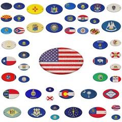 Wooden USA states flag.