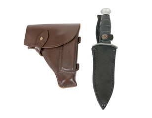 Leather holster and knife in scabbard isolated on white backgrou