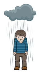 Cartoon man with a dark rain cloud over his head