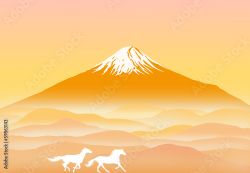 mt. FUJI with running horses