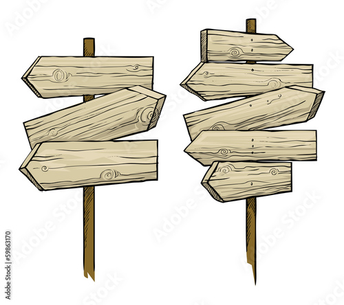 Wooden direction signs, vector illustration