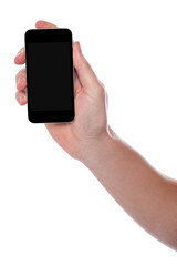 Man hand holding new cellphone