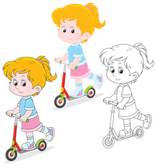 Girl scooterist