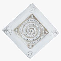 White mandala on white background