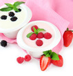 Delicious yogurt with berries isolated on white