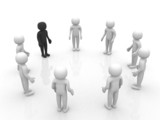3D man joining a group of people in a circle over a white backgr