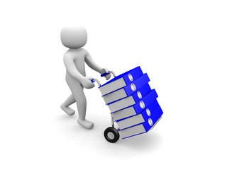 3D man -worker pushing a hand truck with files