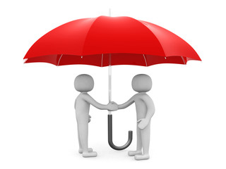 Two 3d man - people shaking hands under a red umbrella