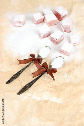 Tasty oriental sweets (Turkish delight) with powdered sugar,