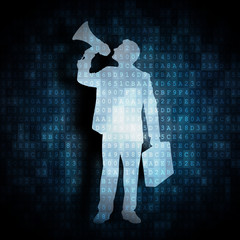 digitaler Geschäftsmann mit Megafon