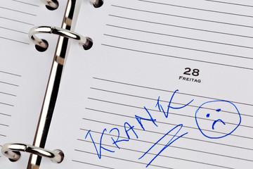 Eintrag im Kalender: Krank