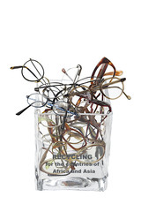 Jar full of  unneeded glasses ready for donation.