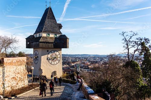 canvas print picture Österreich, Steiermark, Graz, Uhrturm