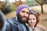 Selfie of a young hipster couple poster