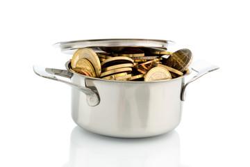 Topf mit Euromünzen