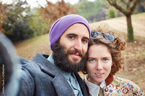 Selfie of a young hipster couple