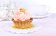 Tasty cake on table on light background