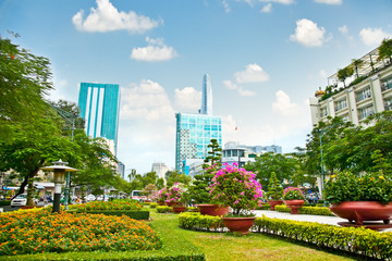 Park in centre of Ho Chi Minh City, Vietnam.