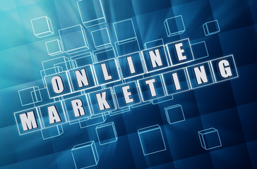 online marketing in blue glass blocks