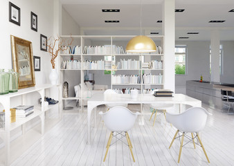 Esstisch in apartment - dining room in white apartment