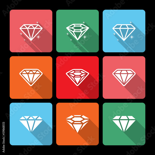 Diamond Icons Set with Long Shadow