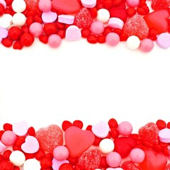 Valentines Day double edge border of red, pink and white candies