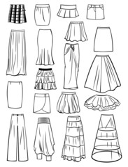 Set of skirts