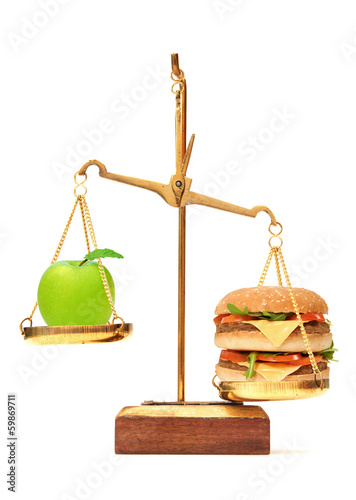 Diet choice between apple and burger
