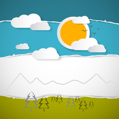 Abstract Vector Trees, Clouds, Mountain, Sun