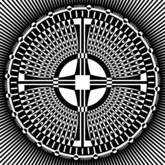 Cross in decorative circle pattern.