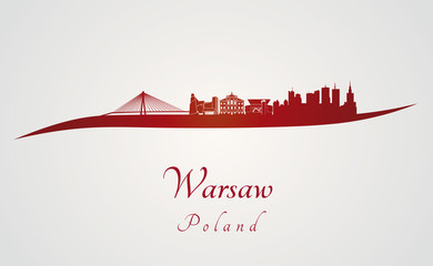 Warsaw skyline in red