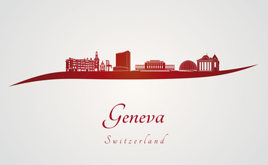 Geneva skyline in red