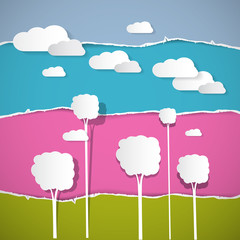 Abstract Vector Trees, Clouds on Retro Torn Paper Background