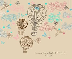Valentine illustration, hot Air Balloon in sky, hand drawn Backg