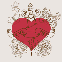 Old-school style tattoo heart with flowers and dagger, Valentine