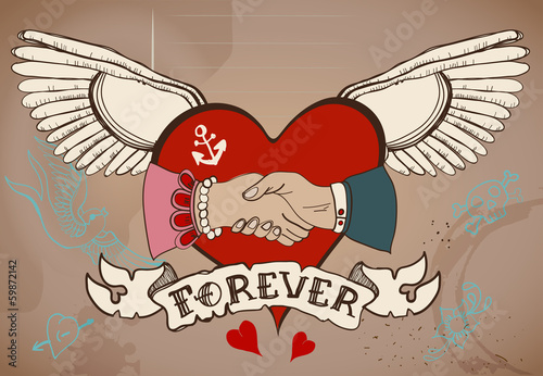 Old-school style tattoo card with heart, man and woman handshake