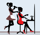 female silhouette in hairdressing salon.