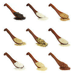 Assorted rice collage in wooden spoon