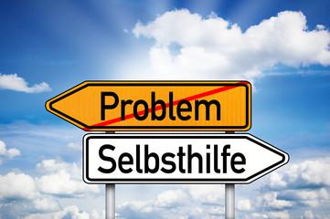 Wegweiser mit Problem und Selbsthilfe