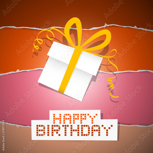 Happy Birthday Torn Paper Retro Background with Gift Box