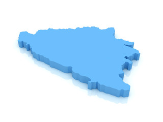 3d map of Bosnia and Herzegovina with high-resolution on backgro