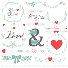 Romantic set vector