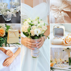 Wedding collage pastel, gentle tones