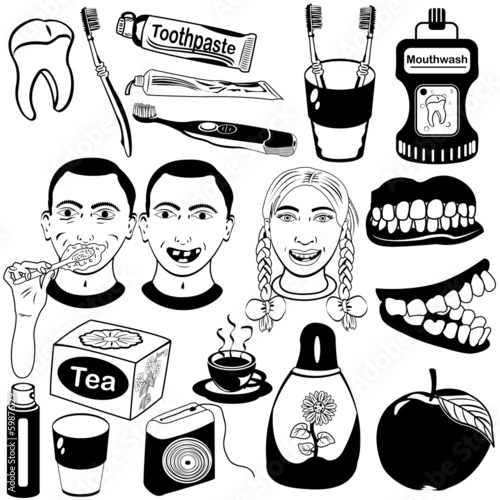 Dental care vector set