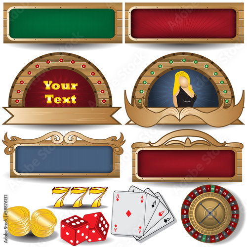 banner set with casino related icons