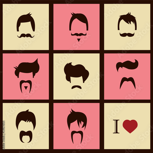 I love vintage hipster hair styles and mustaches, vector