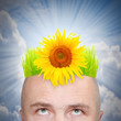 A man with hairstyle from green grass and sunflower.