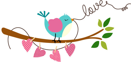 Cute Love Bird on Branch Tree