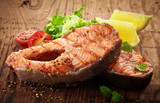 Fototapety grilled salmon steak slices