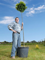 Man with potted tree
